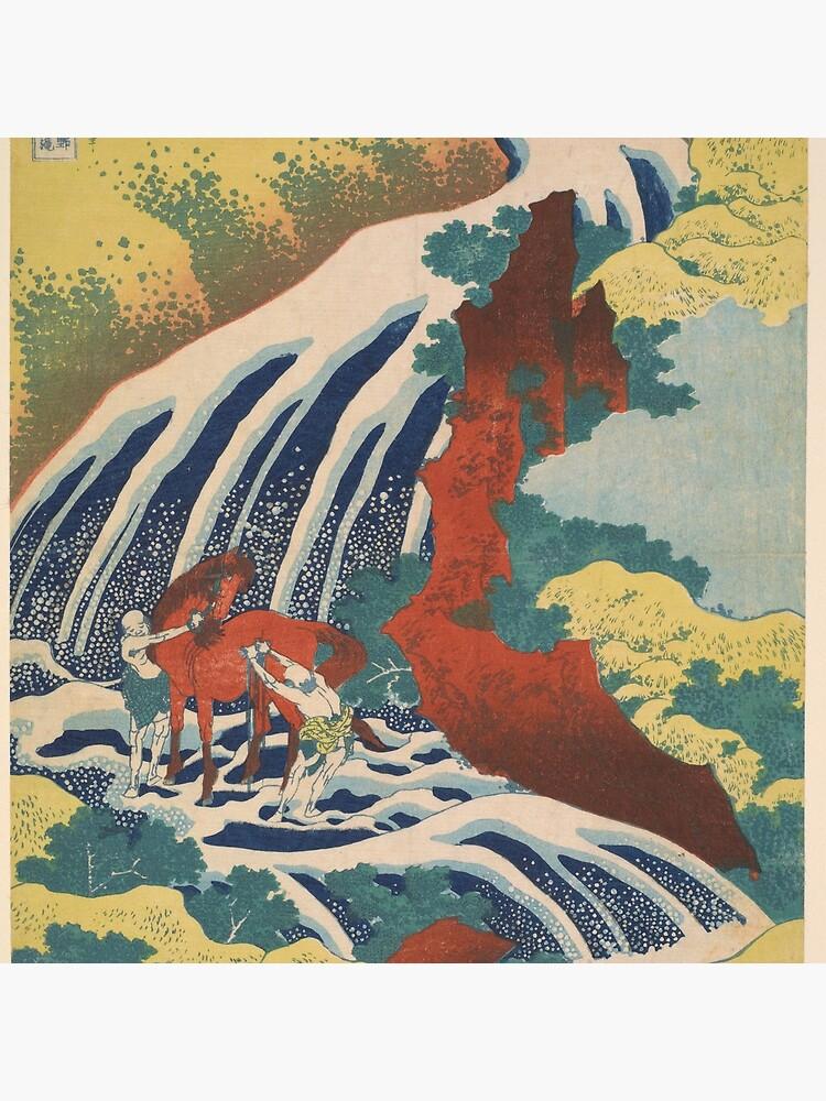 Yoshino Waterfalls Where Yoshitsune Washed his Horse by Katsushika Hokusai by podartist