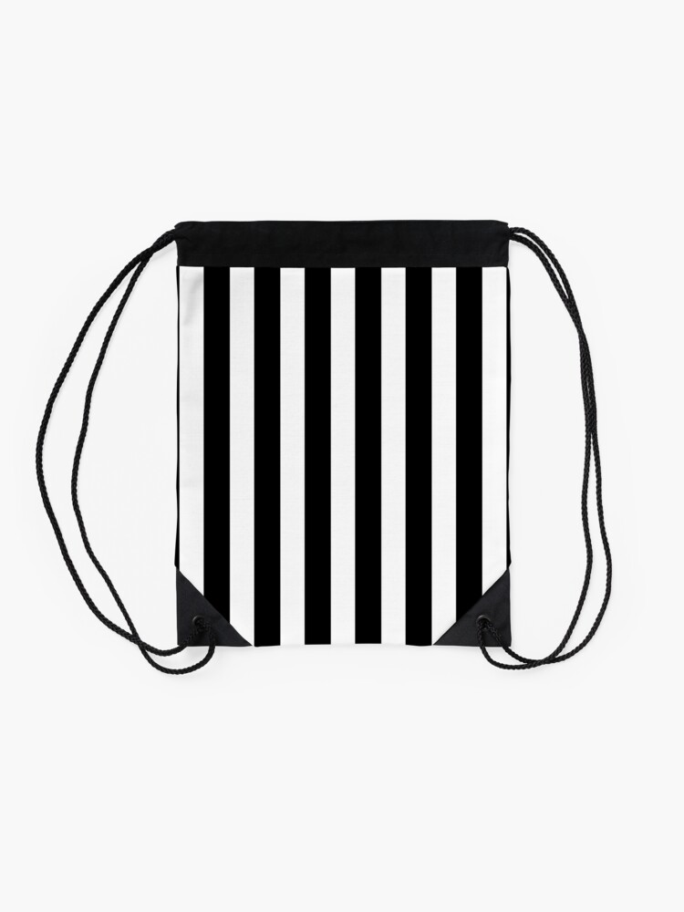 Alternate view of Classic Black and White Football / Soccer Referee Stripes Drawstring Bag