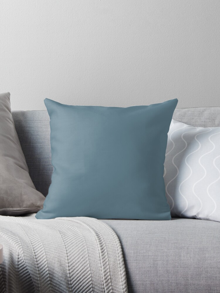 Slate Blue Solid Color Pairs To Behr Paint Blueprint S470 5 Color Of The Year 2019 Throw Pillow By Simplysolid
