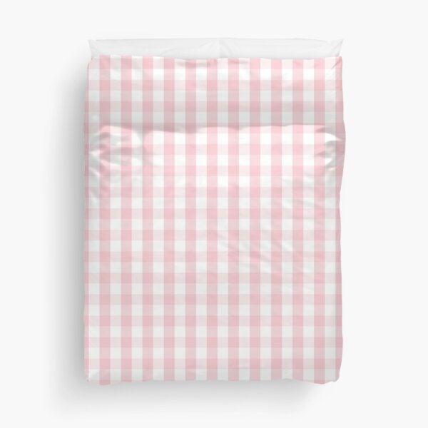 White and Light Millennial Pink Pastel Color Gingham Check Duvet Cover