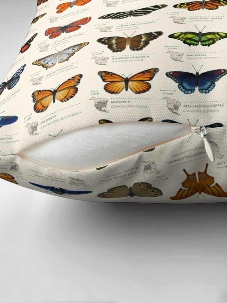 Alternate view of Butterflies of North America Throw Pillow