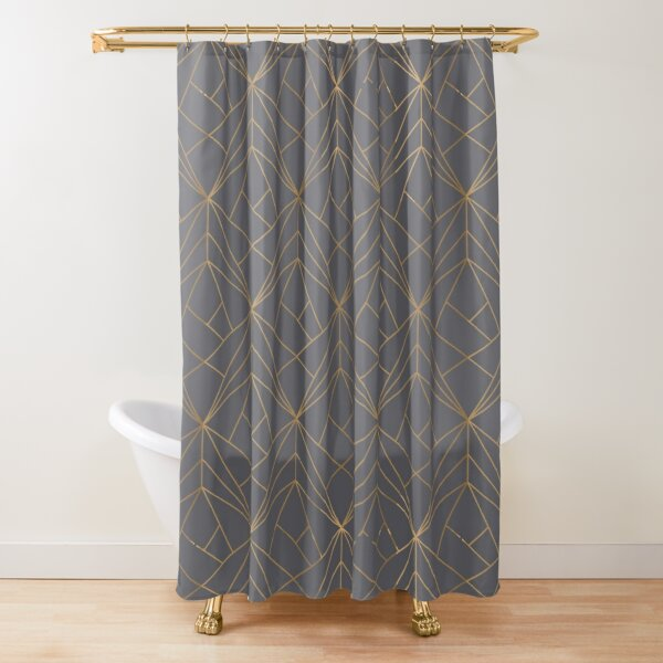 Grey Gold Geometric Pattern Shower Curtain