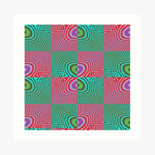 #Pattern, #illusion, #tile, #art, repetition, abstract, design, decoration, mosaic Art Print