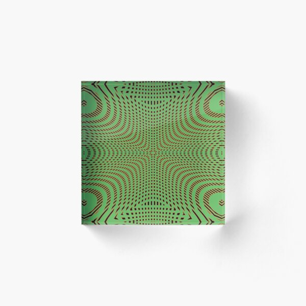 #Pattern, #illusion, #tile, #art, repetition, abstract, design, decoration, mosaic Acrylic Block