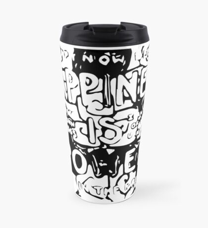 Happiness is Power v2 - Black and Transparent Travel Mug