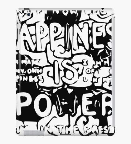 Happiness is Power v2 - Black and Transparent iPad Case/Skin