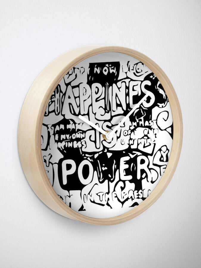 Alternate view of Happiness is Power v2 - Black and Transparent Clock