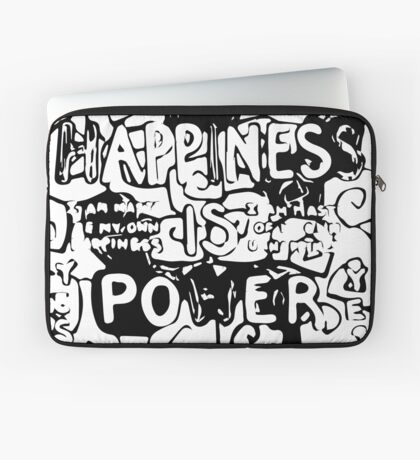 Happiness is Power v2 - Black and Transparent Laptop Sleeve