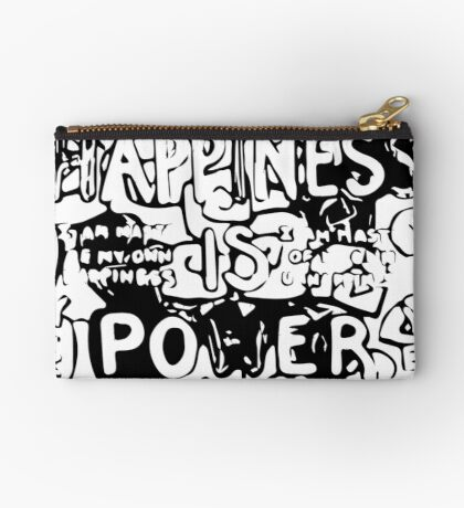 Happiness is Power v2 - Black and Transparent Zipper Pouch