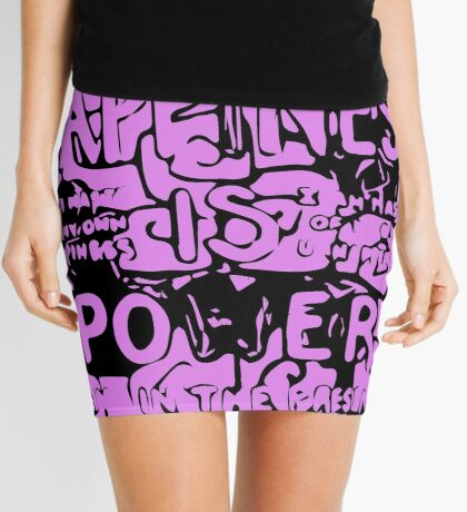 Happiness is Power v2 - Black and Transparent Mini Skirt