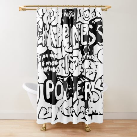 Happiness is Power v2 - Black and Transparent Shower Curtain