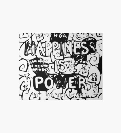 Happiness is Power v2 - Black and Transparent Art Board Print