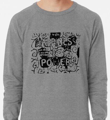 Happiness is Power v2 - Black and Transparent Lightweight Sweatshirt