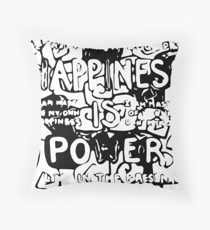 Happiness is Power v2 - Black and Transparent Floor Pillow