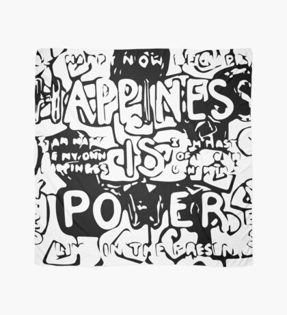 Happiness is Power v2 - Black and Transparent Scarf