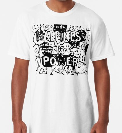 Happiness is Power v2 - Black and Transparent Long T-Shirt