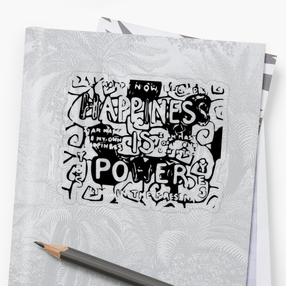 Happiness is Power v2 - Black and Transparent Sticker