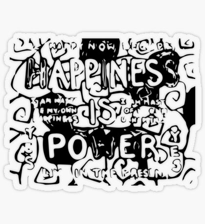 Happiness is Power v2 - Black and Transparent Transparent Sticker