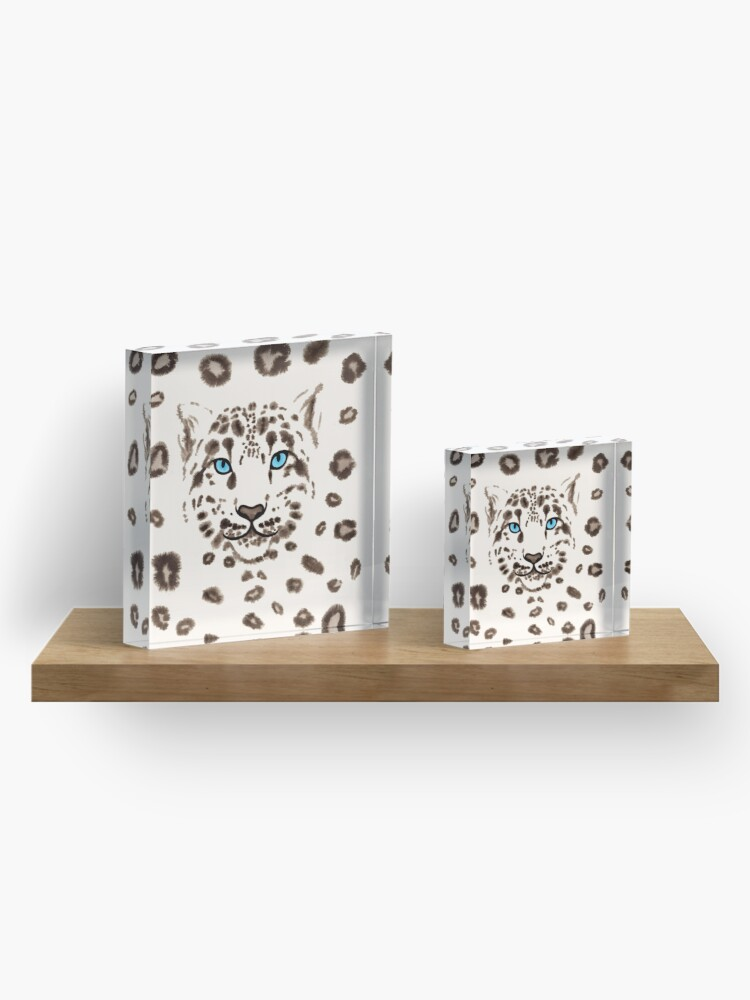 Alternate view of Watercolor Snow Leopard Acrylic Block