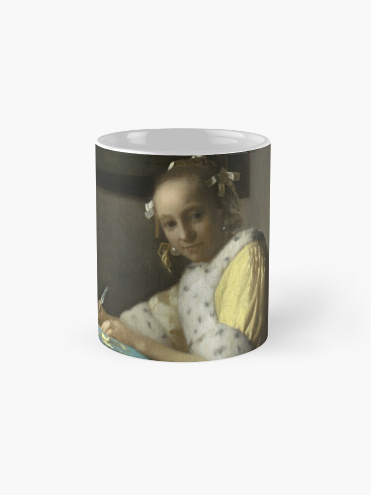 Alternate view of A Lady Writing Oil Painting by Johannes Vermeer Mug