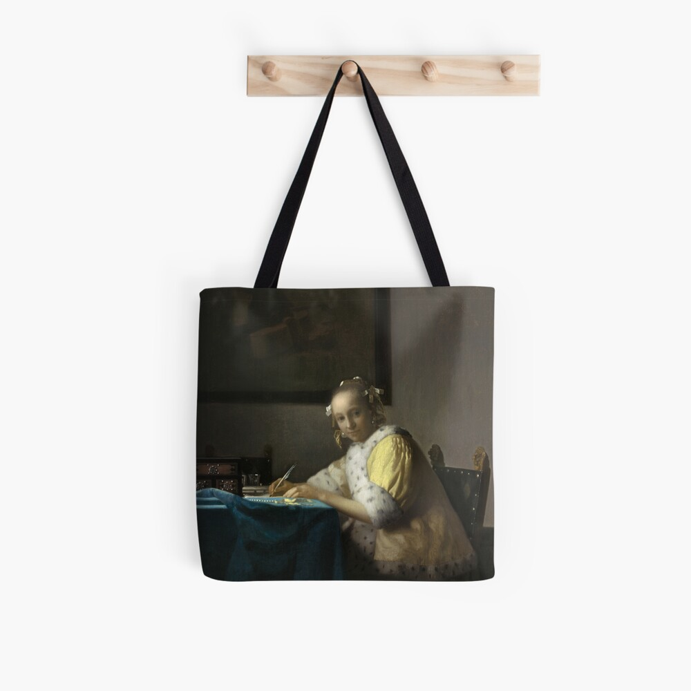 A Lady Writing Oil Painting by Johannes Vermeer Tote Bag