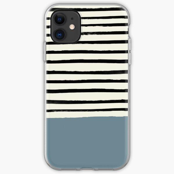 Dusty Blue x Stripe iPhone Soft Case