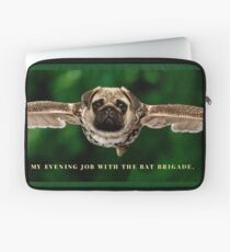 "Pug Shirt, with Wings, ""My Evening Job with the Bat Brigade"" Laptop Sleeve"