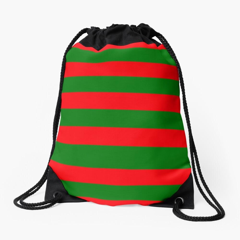 Red and Green Christmas Cabana Stripes Drawstring Bag