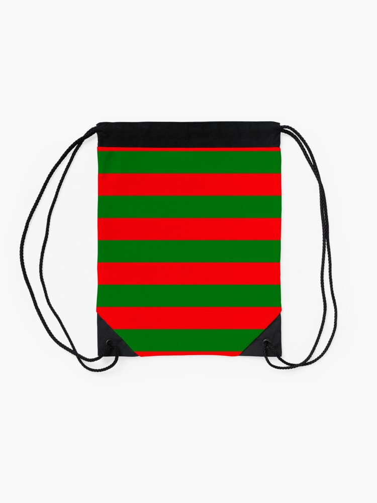 Alternate view of Red and Green Christmas Cabana Stripes Drawstring Bag