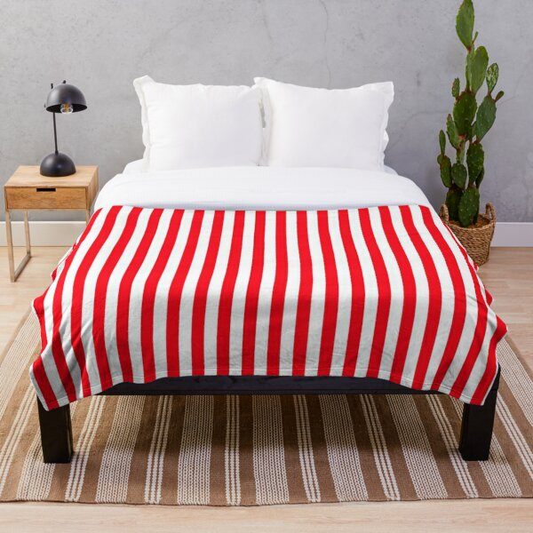 Classic Carmine Red and White Large Vertical Cabana Tent Stripe Throw Blanket