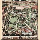 Antique map of NYC Central Park from 1860 by Glimmersmith