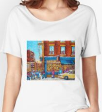 CANADIAN PAINTINGS ST.VIATEUR BAGEL SHOP WITH STREET HOCKEY GAME Women's Relaxed Fit T-Shirt