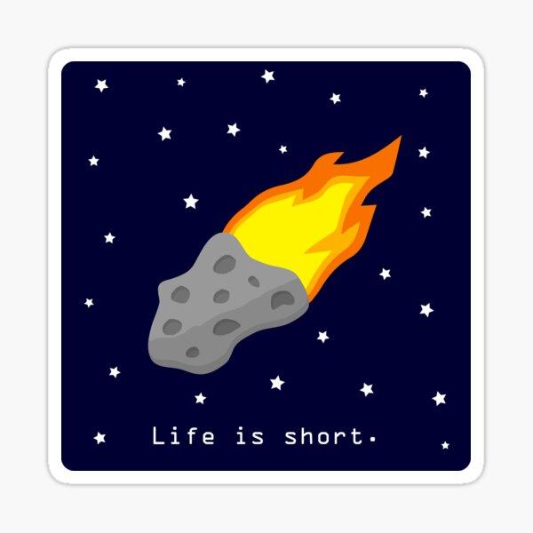 Life is short. Meteor Sticker
