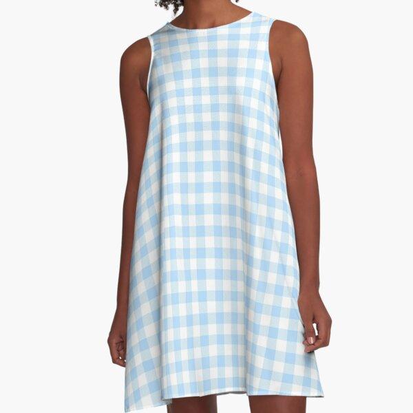 Blue Gingham A-Line Dress