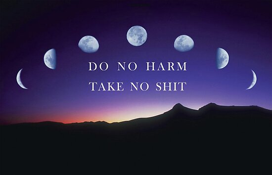 """do no harm take no shit"" quote on purple poster with moons"