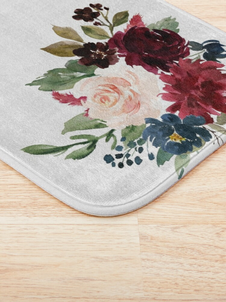 Alternate view of Burgundy Navy Floral Watercolor  Bath Mat