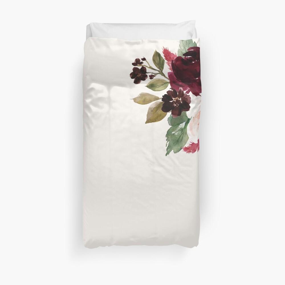 Burgundy Navy Floral Watercolor  Duvet Cover