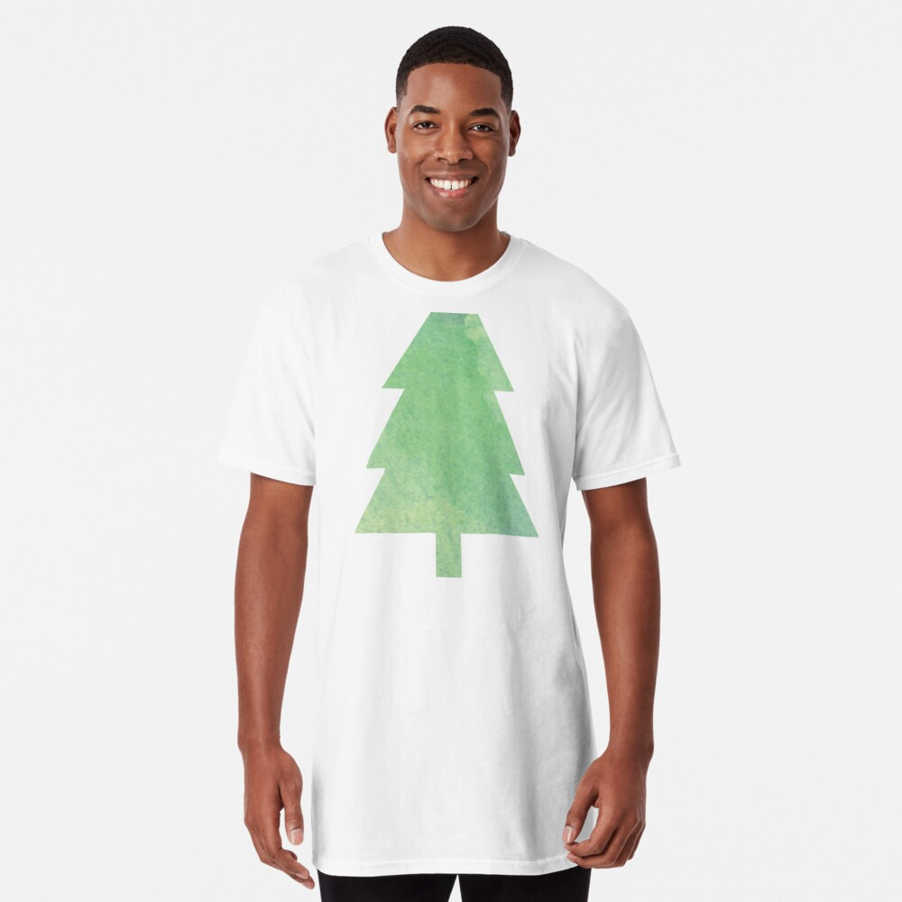 Simple Pine Tree Forest Pattern Long T-Shirt