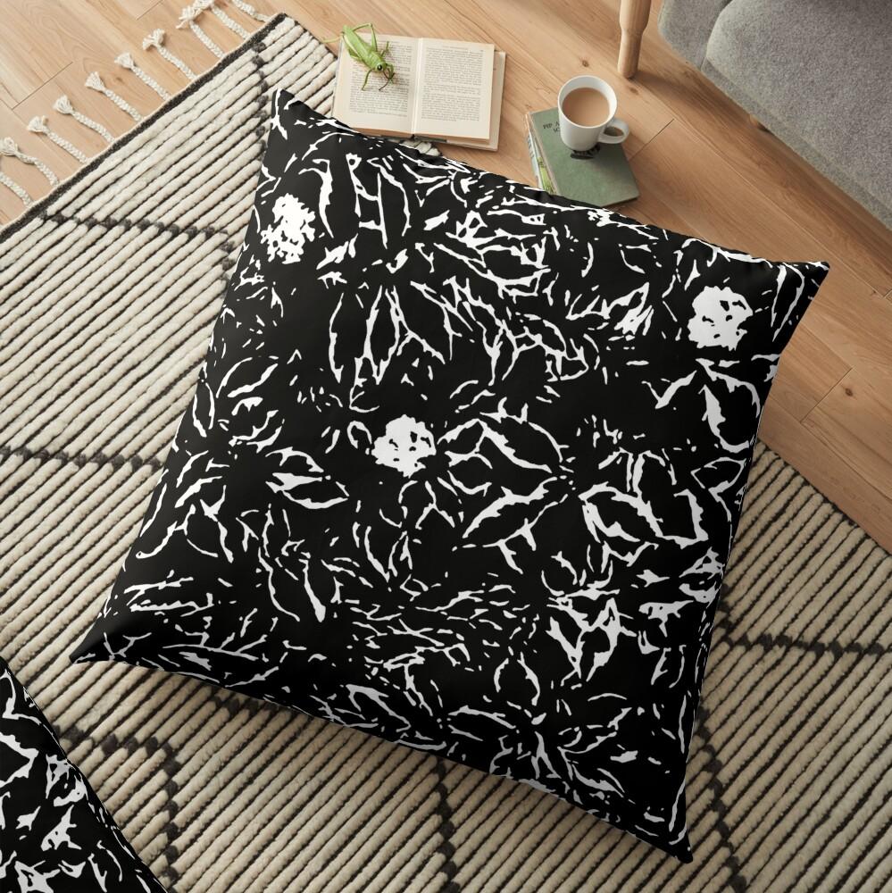 Black & White leaves and flowers Floor Pillow