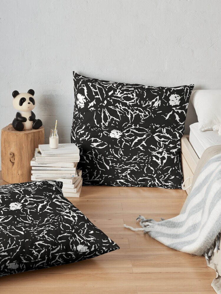 Alternate view of Black & White leaves and flowers Floor Pillow