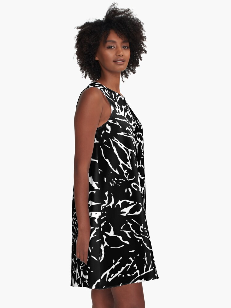 Alternate view of Black & White leaves and flowers A-Line Dress