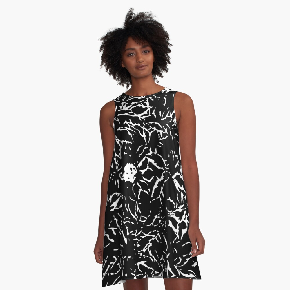 Black & White leaves and flowers A-Line Dress