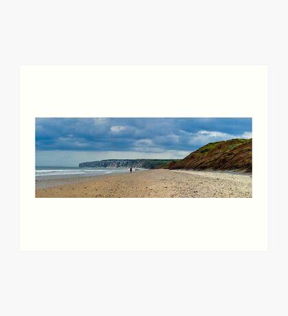 Fat Bloke on Beach, Hunmanby Gap, North Yorkshire Art Print