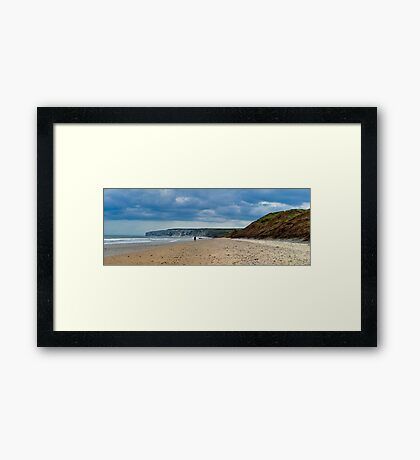 Fat Bloke on Beach, Hunmanby Gap, North Yorkshire Framed Print