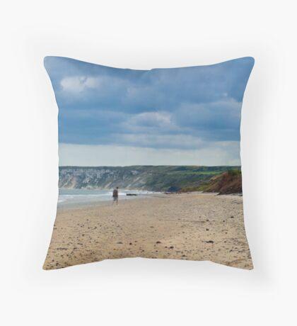 Fat Bloke on Beach, Hunmanby Gap, North Yorkshire Throw Pillow