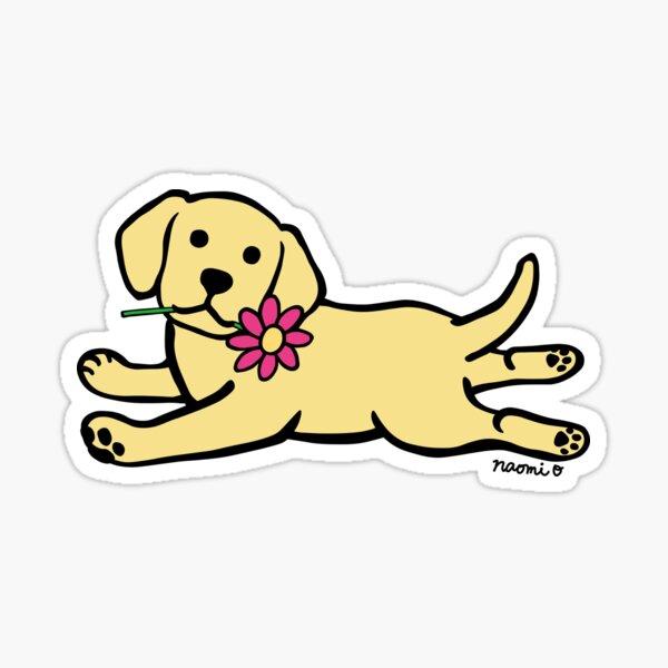 Yellow Labrador Puppy and Daisy Sticker