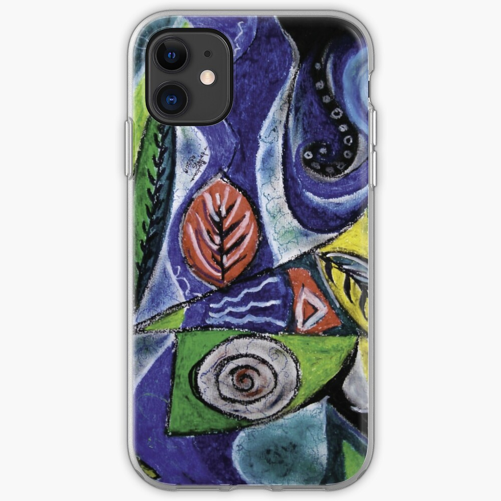 Abstract Leaf Shapes on Wavy Background iPhone Soft Case