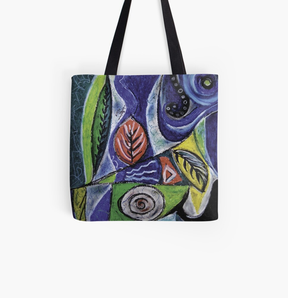 Abstract Leaf Shapes on Wavy Background All Over Print Tote Bag