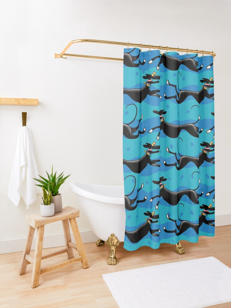 Alternate view of Blue Zoomies pattern Shower Curtain