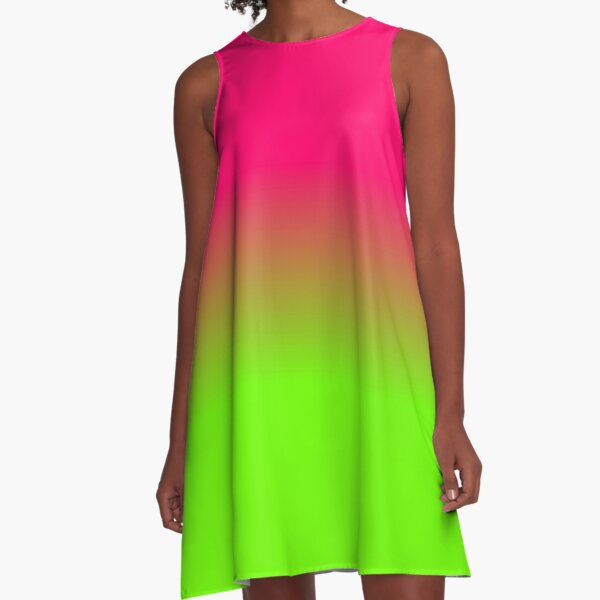 Neon Pink and Neon Green Ombré  Shade Color Fade A-Line Dress